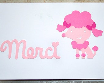 Merci French Poodle Blank Card