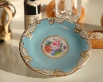 Rose and Floral Dollhouse Miniature Plate