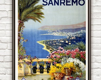 Vintage Poster of SanRemo San Remo Italy Italia  1920 Tourism poster travel