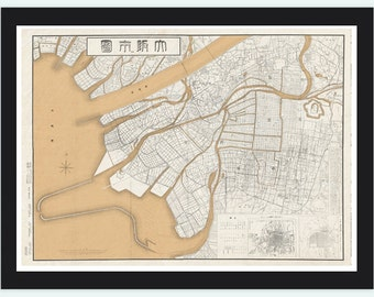 Vintage Map of Osaka City , Japan 1905