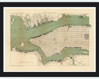 Old Map of New York  1890 Manhattan