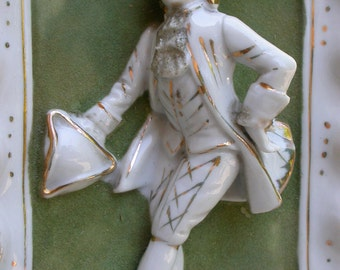 French antique white  porcelain biscuit bisque statue noble  man  18th century gold gilt porcelain