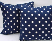 Blue ikat polka dot pillow covers. Blue and white Pillow Covers. Zipper closure