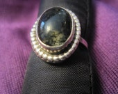 Sterling Silver Moss Agate Bead Ring - Tom Nugent