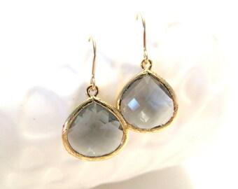 Grey Earrings Gold Earrings Gold Drop Gray Grey Drop Earrings Grey Bridesmaid Earrings Grey Wedding Jewelry Black Diamond Crystal