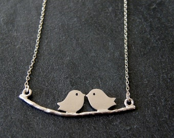 Love Birds on a Branch Silver Necklace, Two Doves Necklace, Romantic, Anniversary Gift, Mom Gift, Birthday Gift