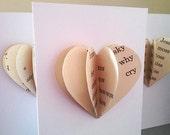 Wedding or anniversary 3D paper heart card - handmade using vintage children's books