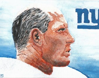 Y A Tittle Hall of Fame Quarterback New York Giants Reproduction Painting 8x10