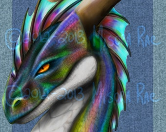 "Rainbow Dragon  8"" x 10"" Artist Print - Made to Order"