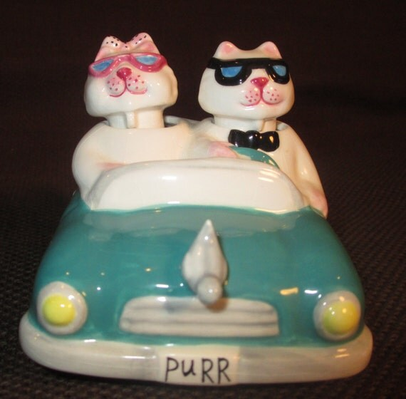 Bobble Cats Heads Salt And Pepper Shakers In By