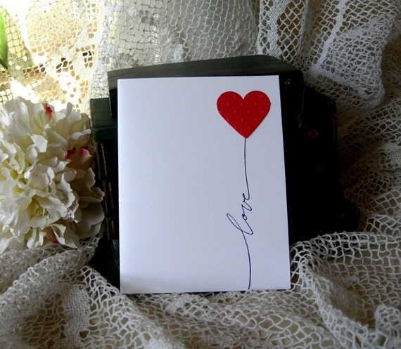 Handmade Greeting Card: Handmade Card. Heart Love Note Love