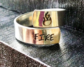Engraved ring, Spiral Ring, Fitness, personalized ring, crossfit ring  SPRALS01
