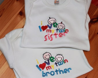 Personalized Embroidered Baby Onepiece Bodysuits - Twin Love