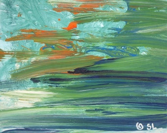 """CONTEMPLATION - Original Modern Abstract Wall Decor Painting, size: 11"""" X 11"""" (30 x 30 cm)"""