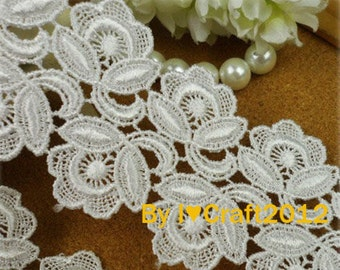 White Venice Lace Rose Flower Trim 1.96 Inches Wide 2 Yards Costume Headware Supplies