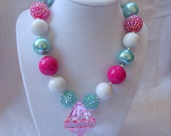girl chunky bead necklace girl bubblegum necklace girl chunky bubblegum bead necklace aqua pink necklace faux pink pendant