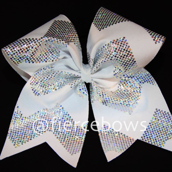 White and silver chevron cheer bow by myfiercebows on etsy - Cute cheer bows ...