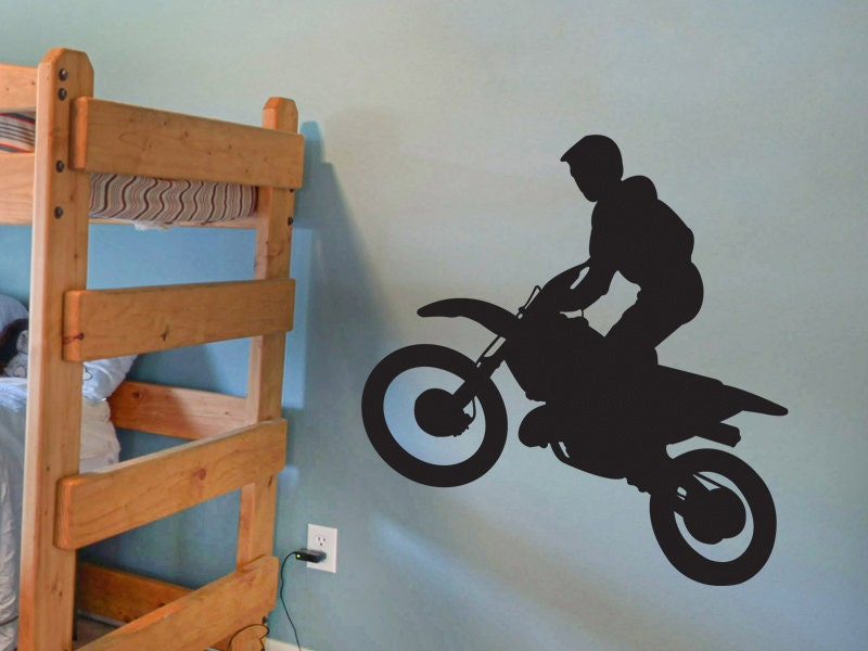 Dirt bike rider 3 motorcross vinyl wall decal motorcycle vinyl for Dirt bike wall mural