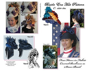 MC45  - Early 1870's to 1880's Bustle Hat Sewing Pattern by Lynn McMasters
