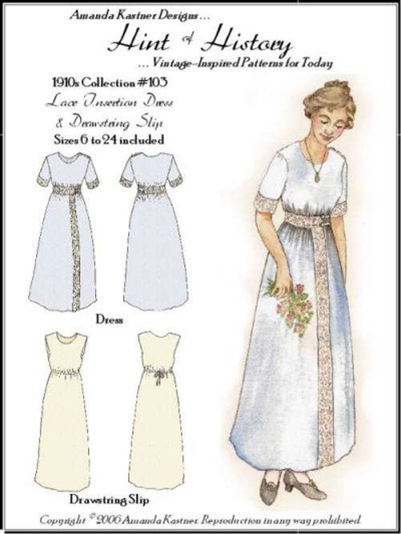 Titanic Edwardian Sewing Patterns- Dresses, Blouses, Corsets, Costumes 1910s Lace Insertion Dress and Drawstring Slip Sewing Pattern by Hint of History $14.95 AT vintagedancer.com
