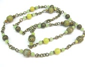 Green Jade Necklace Natural  Long Beaded Chain Bohemian Earthy Brass Jewelry vintage inspired OOAK - SanaGem