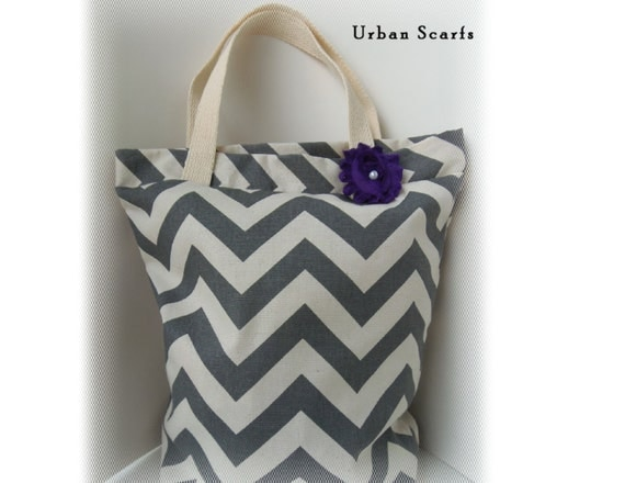 Tote bag, gray and ivory chevron bag, beach bag, bridesmaids gift