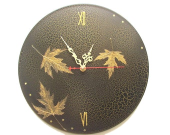 Black wall clock unique wall clocks gold leaves black gold wall decor leaves art large wall clocks unusual wall clocks art clocks fall decor