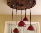 Industrial metal shade pendant chandelier from OldeBrickLighting on etsy.com
