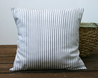 Gray Ticking Stripe Pillow Cover