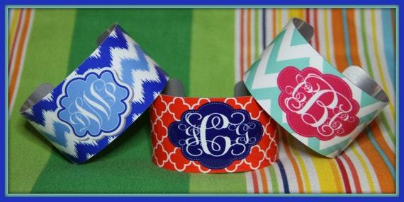 Design Your Own Preppy Monogrammed Cuff Bracelet Personalized Cuff Bracelet Personalized Cuff Bracelet Best Friend Girlfriend