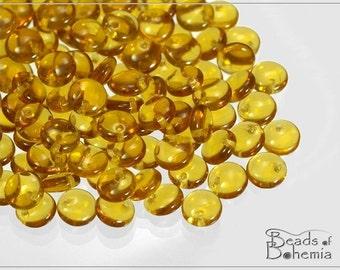 Topaz Transparent Czech Lentil Beads 6 mm, 50 pcs (7452)