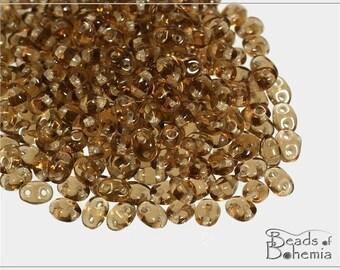 Transparent Smoke Topaz Czech Preciosa TWIN Pressed Beads 3x5 mm, 20 g (7159)