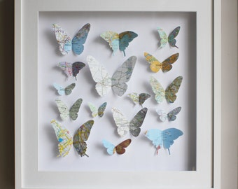 Personalised Butterfly Map artwork - Framed