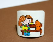 "Scrunchy ""The girl and the cat."" Wood, hand-painted."