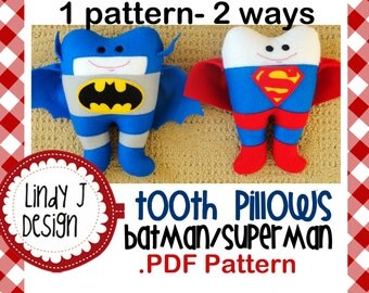 Batman/Superman Tooth Pillow .PDF Pattern