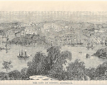 1870 Engraving - The City of Sidney, Australia