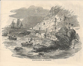 1870 Engraving - Boat Loading at Ichaboe - Penguin Islands