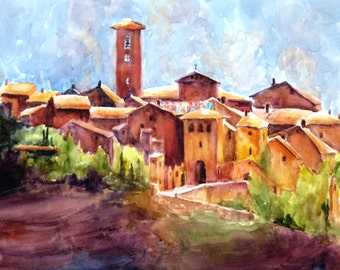 Our Etruscan Home Italian Town church steeple - original watercolor painting ART PRINT, landscape Italy church tower