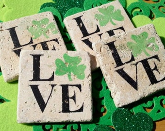 Natural Stone Coaster Set (4), Shamrock LOVE, Beer Coaster, Wine Coaster, St. Patrick's Day