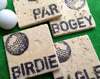 GOLF Par, Birdie, Eagle & Bogey Natural Stone Coaster Set,  Beer Coaster,   Coaster