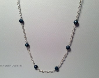 Classical Silver Chain with Denim Lapis