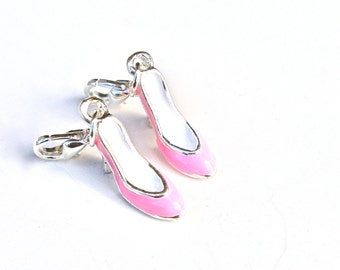 Silver Plated High Heel Lobster Clasp Charm- Set of 2- You choose color -183-