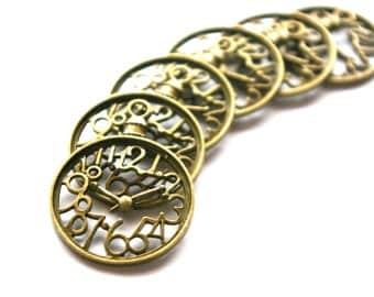 Antique Bronze Steampunk Clockwork Charms- Set of 6