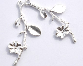 Silver Plated Tree Branch Charm- Set of 2     -129-