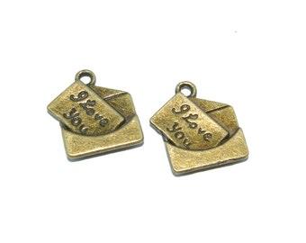 Bronze I Love You  Letter In Envelope Charm- Set of 2  -55-
