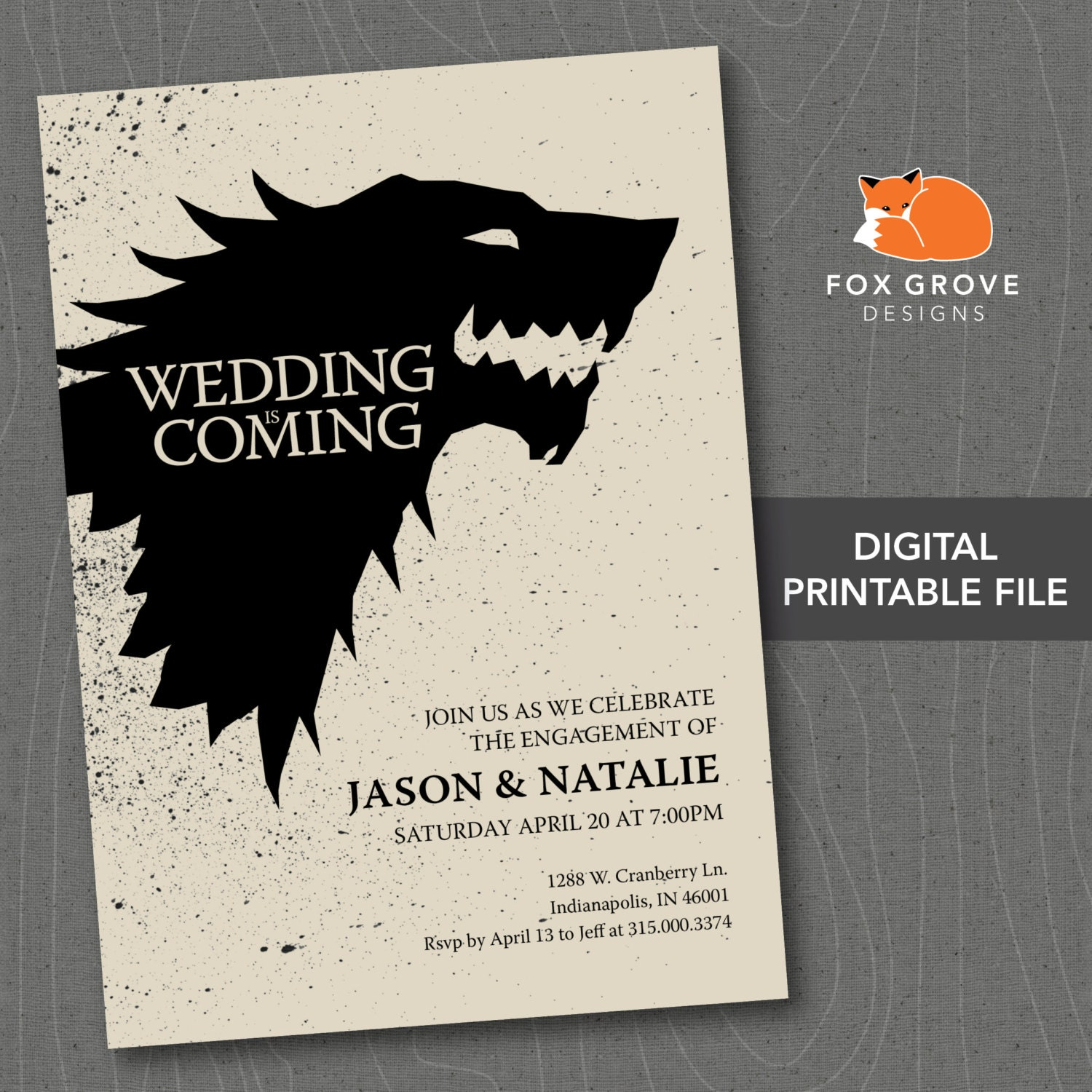 Engagement Party Games: Wedding Is Coming Game Of Thrones Printable By FoxGroveDesigns