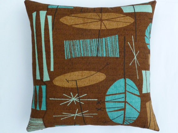 Mid century modern accent pillow tiki barkcloth for Mid century reproduction