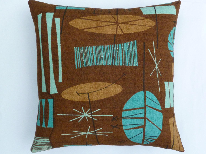 Mid Century Modern Accent Pillows : Mid-Century modern accent Pillow TIki Barkcloth