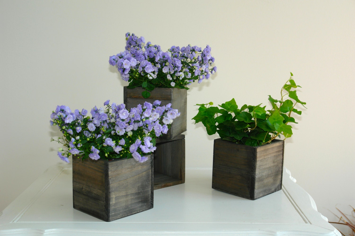 Wood box woodland planter flower box rustic pot square vases - Wooden containers for flowers ...