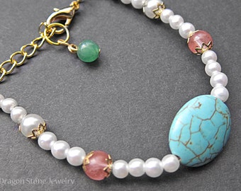 FINAL SALE!!! Angelic Beaded Oval Turquoise Howlite Bracelet with Cherry Quartz and Pearl Beads